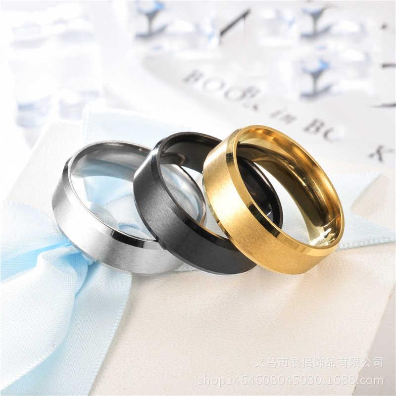 2019 Baru Hitam Titanium Steel Jari Cincin untuk Pria Berlapis Perak Wanita Glossy Aksesoris Pasangan Perhiasan Fashion Cincin