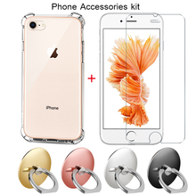 Set Mobile Phone Screen Protector Glass for iPhone 7 6 8 6s Case iphone 6s 7 6 8 plus Finger Ring Phone Stand Mount Holder kit
