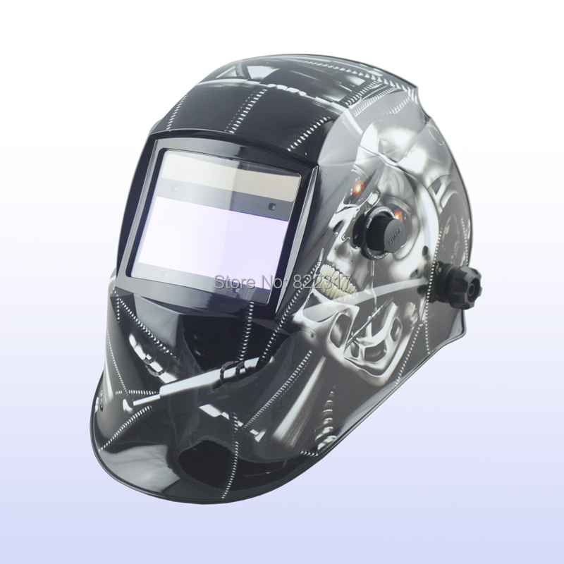 Auto darkening welding helmet/welding mask/MIG MAG TIG(Yoga-718G METAL SKULL)/4 arc sensor din7 din12 shading area solar auto darkening welding helmet protection face mask welder cap for zx7 tig mig welding machine