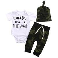 3PCS Set Newborn Baby Clothes Camouflage Kids Suit Wait The Wait Baby Romper Jumpsuit Pant Hat