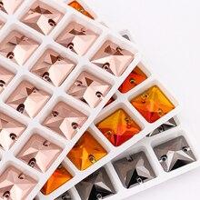 Розовое золото 22x22 мм квадратный пришить стразы K9 стекло, кристалл, камень Flatback для шитья страз платье одежда украшения кристалл