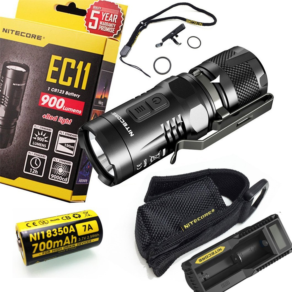 Nitecore EC11 CREE XM-L2 U2 900Lumens LED Tactical Flashlight for Camping with 18350 Rechargable Battery + UM10 charger nitecore p20 flashlight cree xm l2 u2 led max 800lm led torch for outdoor sports 3500mah 18650 battery and um10 charger