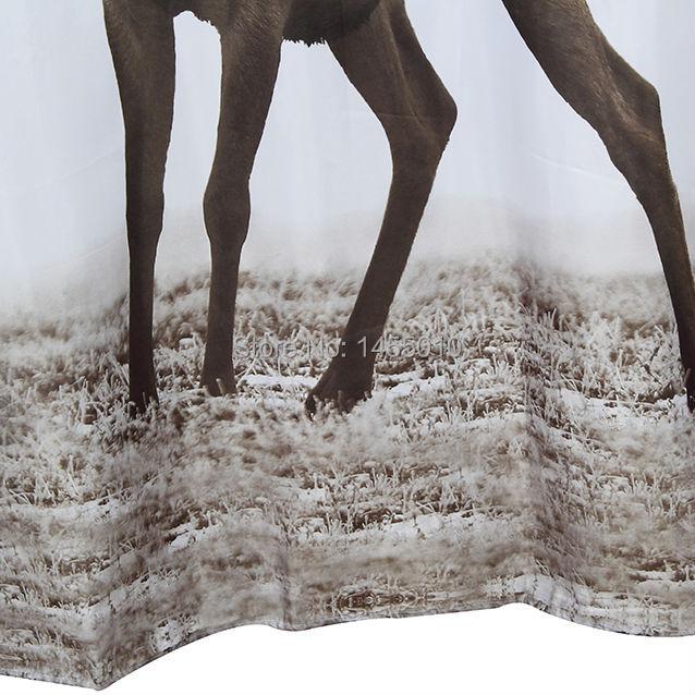 Árvore feliz tecido poliéster animal cervos cortina