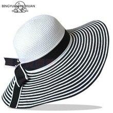 BINGYUANHAOXUAN Hot Sale Fashion Wind Black White Striped Bowknot Sun Summer Hat Lovely Women Straw Beach Wide-Brimmed