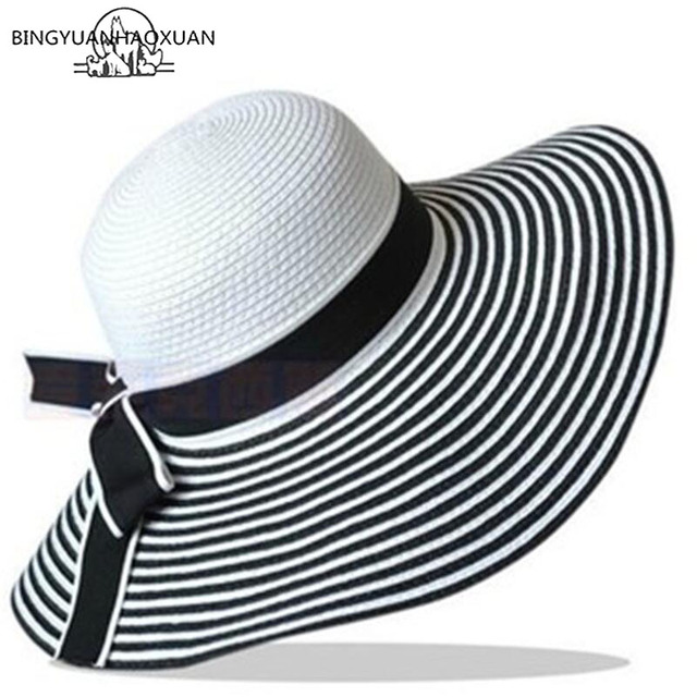 BINGYUANHAOXUAN Hot Sale Fashion Wind Black White Striped Bowknot Sun Summer  Hat Lovely Women Straw Beach Hat Hat Wide-Brimmed 66e50d33941