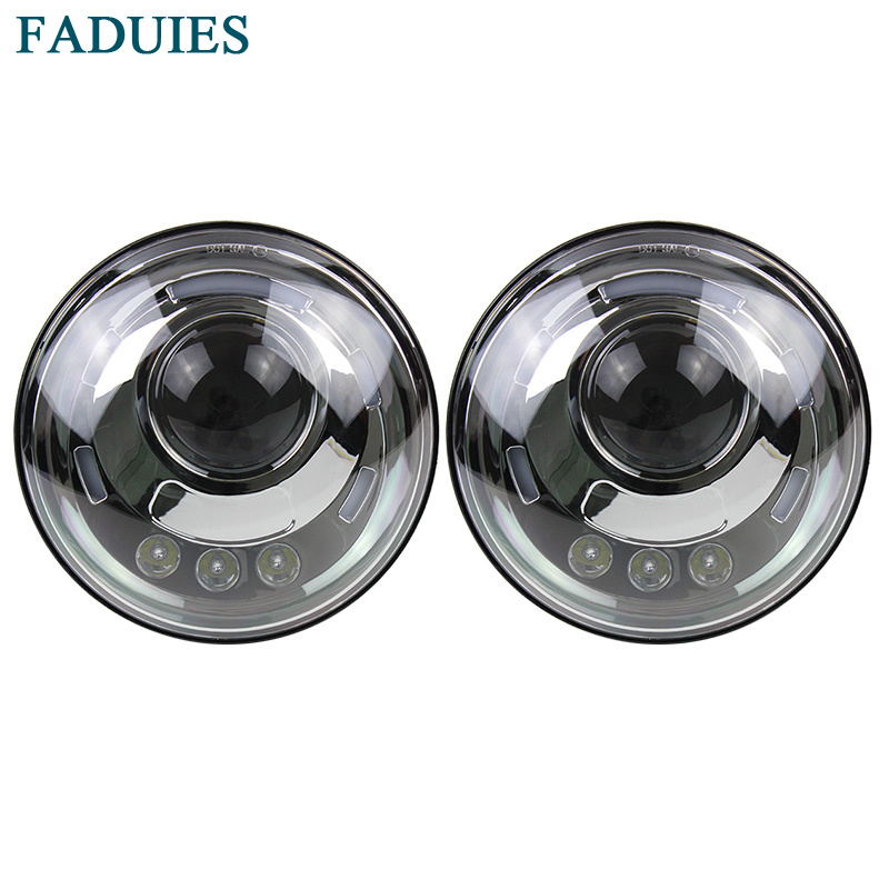 FADUIES 7 Inch Led Headlight H4 DRL Round 7'' Headlights with White Angel Eye For Jeep Wrangler Lada Niva 4x4