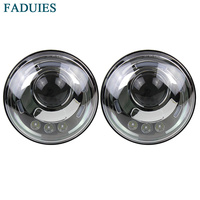 FADUIES 7 Inch Led Headlight H4 DRL Round 7 Headlights With White Angel Eye For Jeep