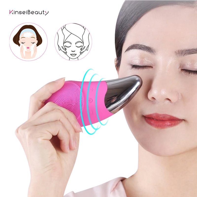Sonic Facial Cleansing Brush Silicone Electric Face Washing Brush USB Rechargeable Skin Massage Blackhead Remover Cleanser