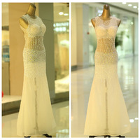 Vestido de formatura longo 2018 new kim cương lấp lánh sexy xem mermaid trắng PROM dresses slit dài vestido formatura milan