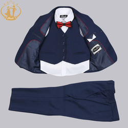 Nimble Boys Formal Suit Three Pieces Hot Sale Classical Kids Winter Wear Flat Single Breasted Baby Boy Clothes  2-13Y