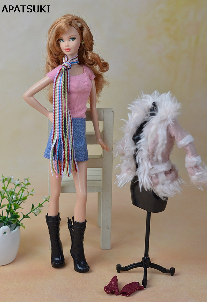 Doll Accessories Set Winter Autume Warm Coat Fashion Clothes For Barbie Doll House Parka Skirt Boots  For 1/6 BJD Doll red leather coat for bjd 1 3 sd17 uncle doll clothes accessories