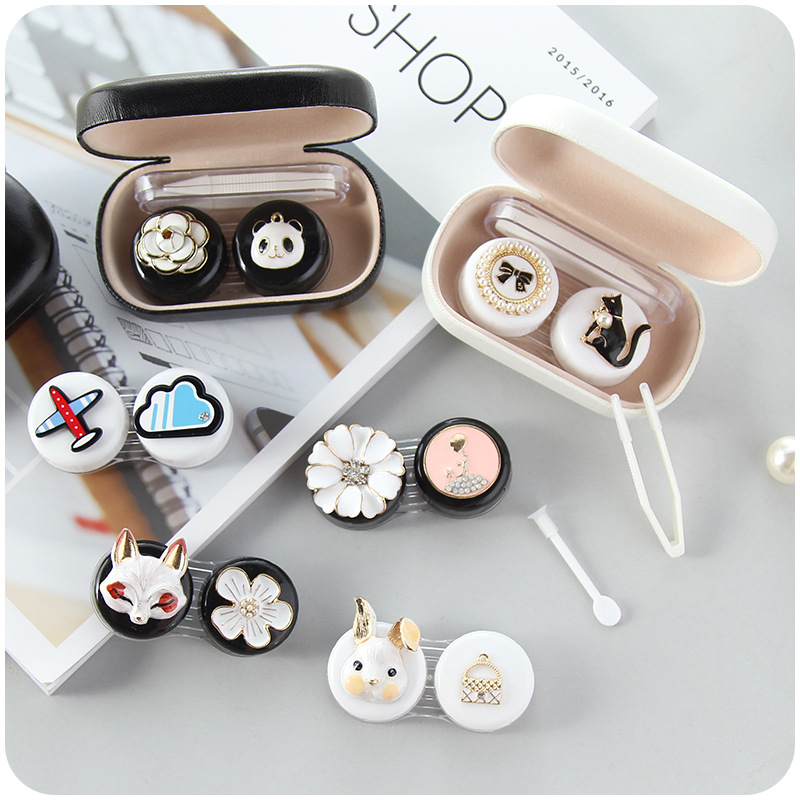 Contact Lens Case Cut Animal Glasses Case With Mirror Eyes Contact Lenses Box For Glasses Lens Container Glasses