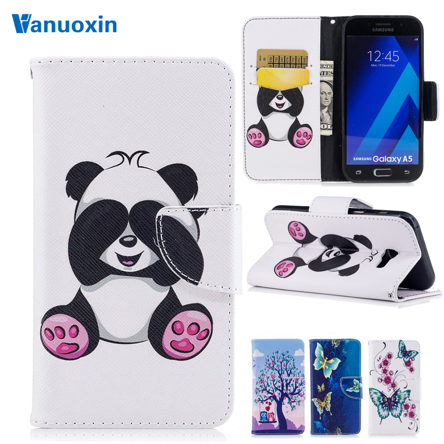 Vanuoxin Leather case For Fundas Samsung Galaxy A5 2017 case For Samsung A5 2017 A520 Capa Coque Wallet Flip cell Phone cases(China)
