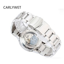 Купить с кэшбэком CARLYWET 22mm Silver Brushed Solid Stainless Steel Deployment Clasp For Samsung Gear S3 smart watch band Link bracelet Classic