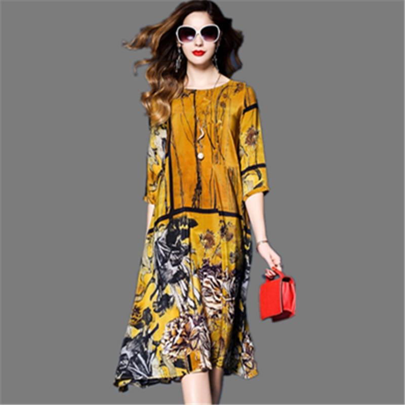 2019 Women Dress Elegant Floral Spring Summer Three Quarter Sleeve Vestidos Chinese Vintage Print Faux Silk Dresses High Quality
