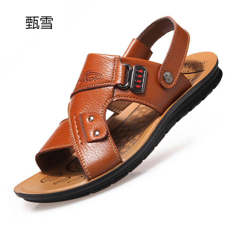 Men's Leather Sandals New Thick Non Slip Bottom Summer Beach Shoes Leather Casual Shoes Slippers Breathable Shoes 2016 summer new boys and girls shoes korean sports beach sandals wear non slip