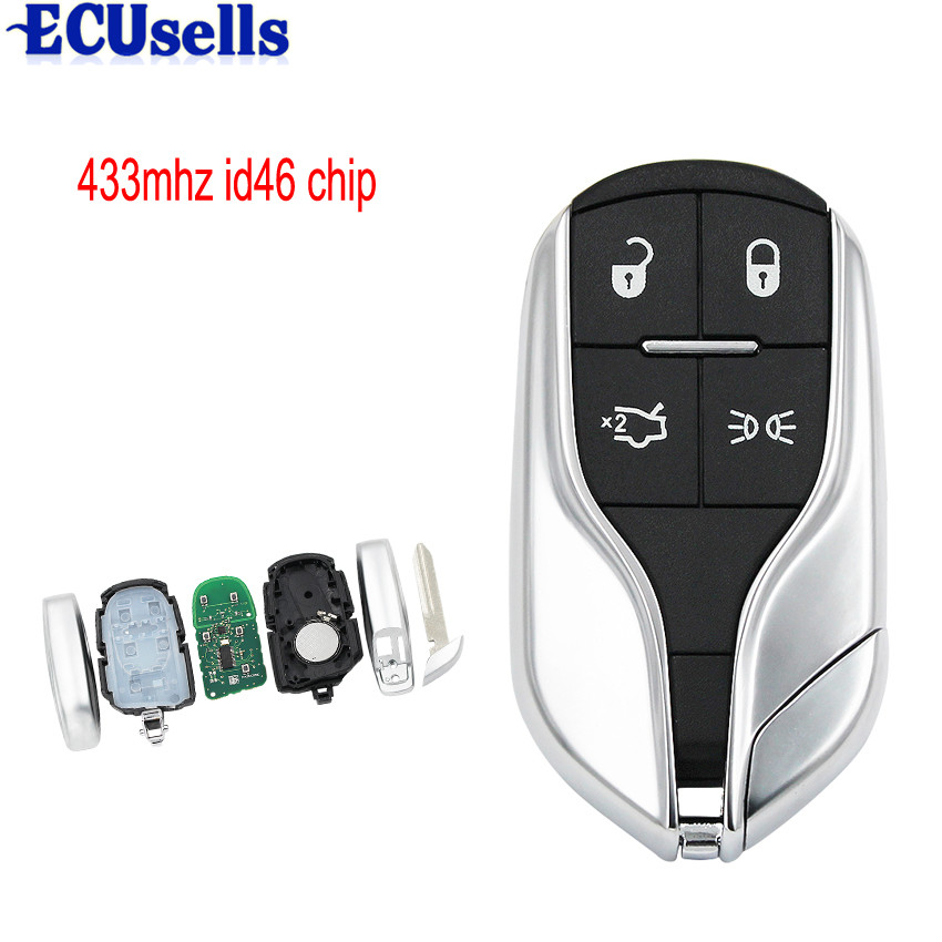 4 Buttons Smart Card Remote key for Maserati President Ghibli Levant 433MHZ with ID46 Chip