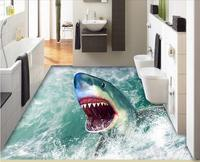 3d Flooring Wallpaper Custom Photo Self Adhesion Material Picture 3 D Hd Sea Shark Painting 3d
