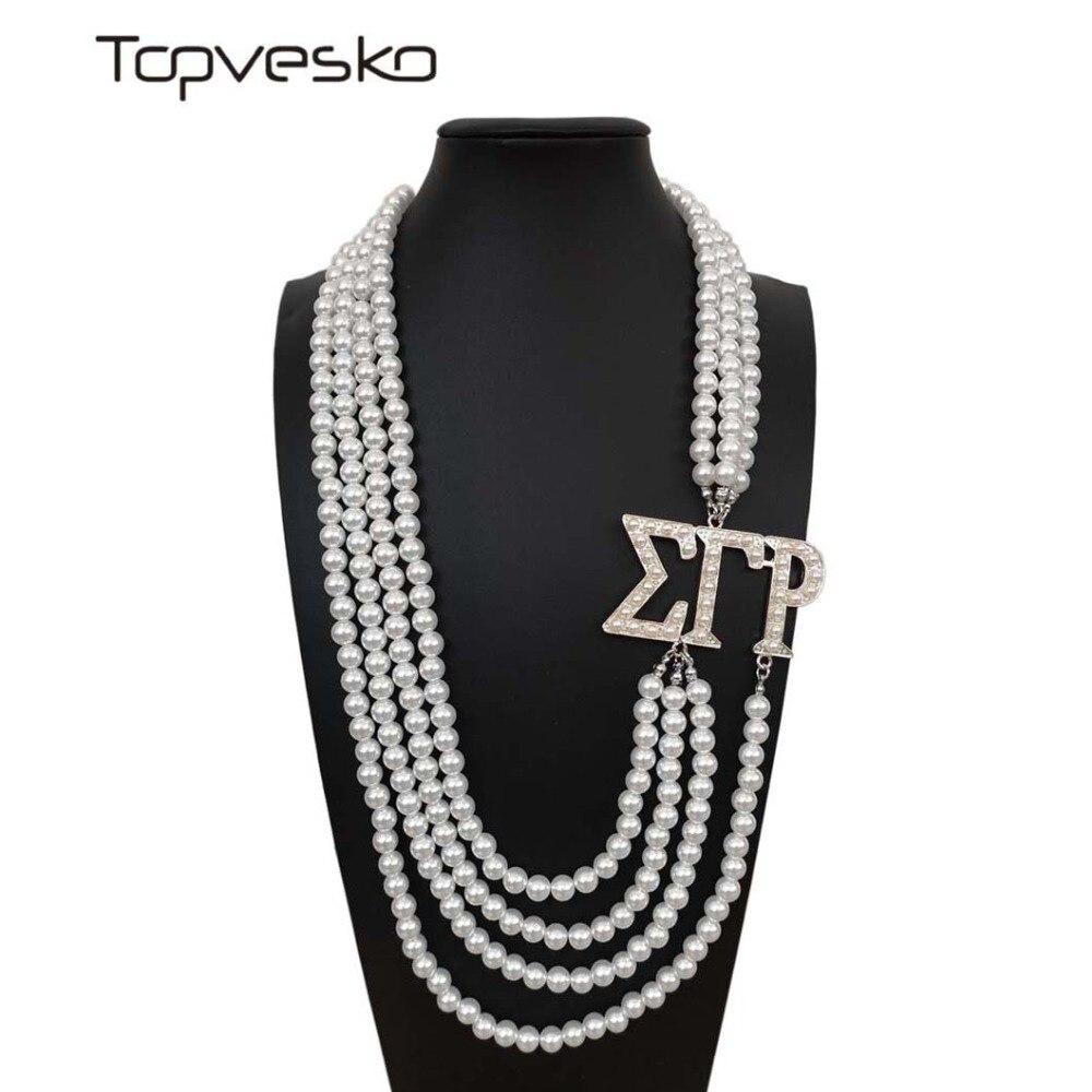 Topvekso Greece Greek Sorority Sigma Gamma Rho White Pearl SGR  Pendant Multilayer Statement Jewelry Long Choker
