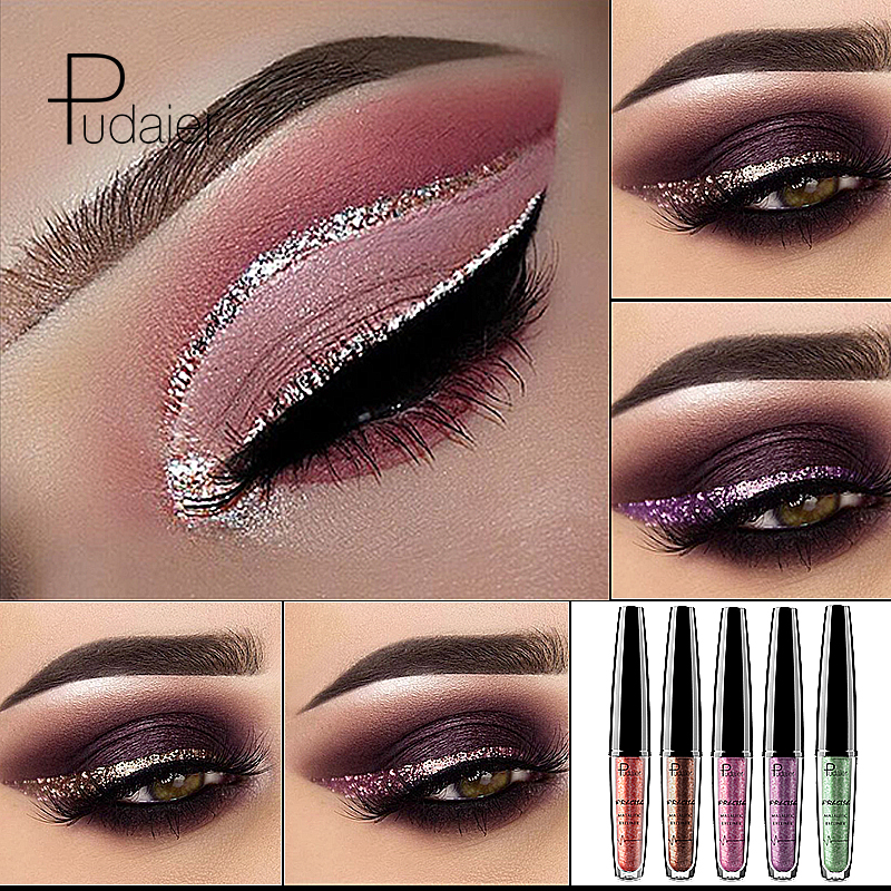 2018 Liquid 16 Colors Shimmer Eyeliner Gel Waterproof Long Lasting Glitter Eye Liner Makeup Gold Blue Silver Eyeliners Cosmetics