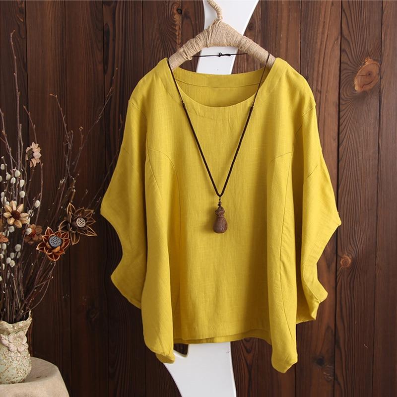 Plus Size Summer Blouse  2018 ZANZEA Women Linen Shirt Batwing Sleeve Solid Casual Baggy Blusas OL Work Top Lady Kaftan Vestido