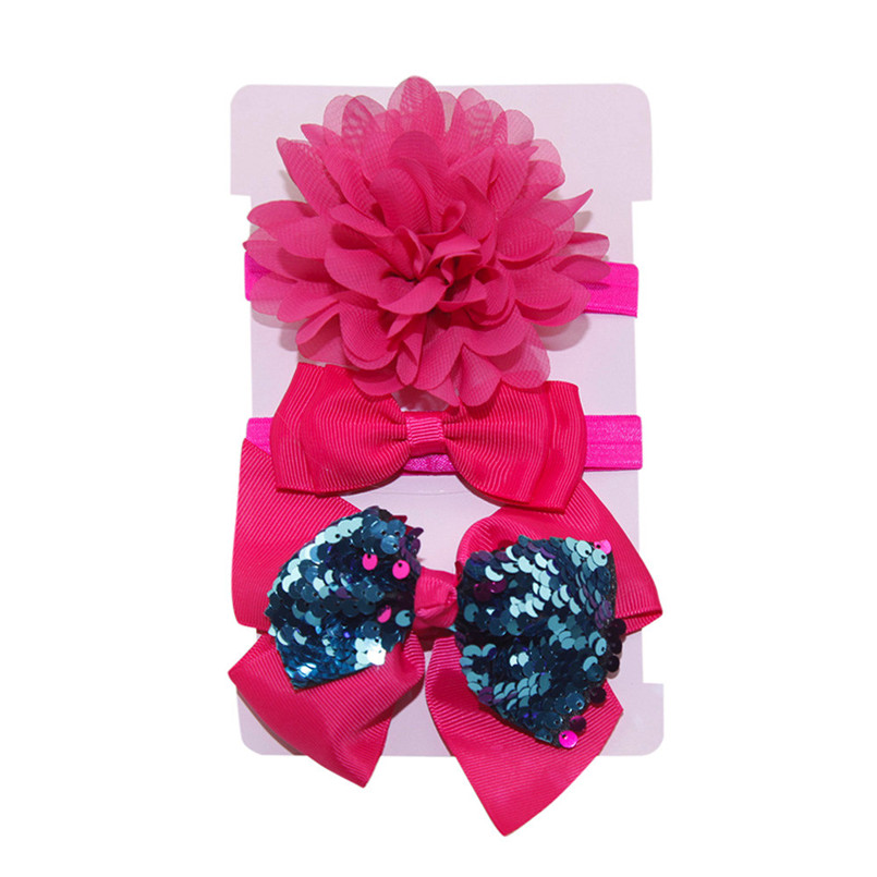 Headwear Baby Girls Hairbands 3Pcs Kids Elastic Floral Headband Baby Girls Sequins Bowknot Hairband Set tiara infantil #4S12 (22)