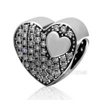 White CZ Zircon Micro Pave Authentic 925 Sterling Silver Heart Beads Fit European Charm Bracelet Necklace