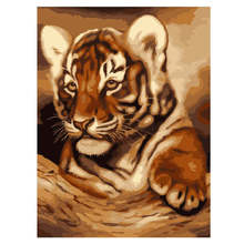 Digital Oil Painting Coloring By Numbers,DIY Hobby At Home,Painting Numbers Little Tiger