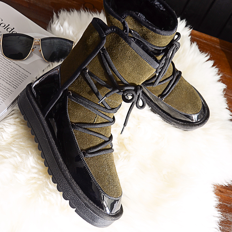 Women Genuine Leather Lace Up Casual Flat Ankle Boots Short Plush Thick Warm Round Toe New Arrival Snow Boots 20170208 only true love new arrival genuine leather women fashion flat heels equestrian snow boots round toe women boots