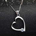 Free Shipping Summer Style 100% 925 Sterling Silver Pendant For Women Necklace Heart Crystal Pendants Fine Jewelry SSP050