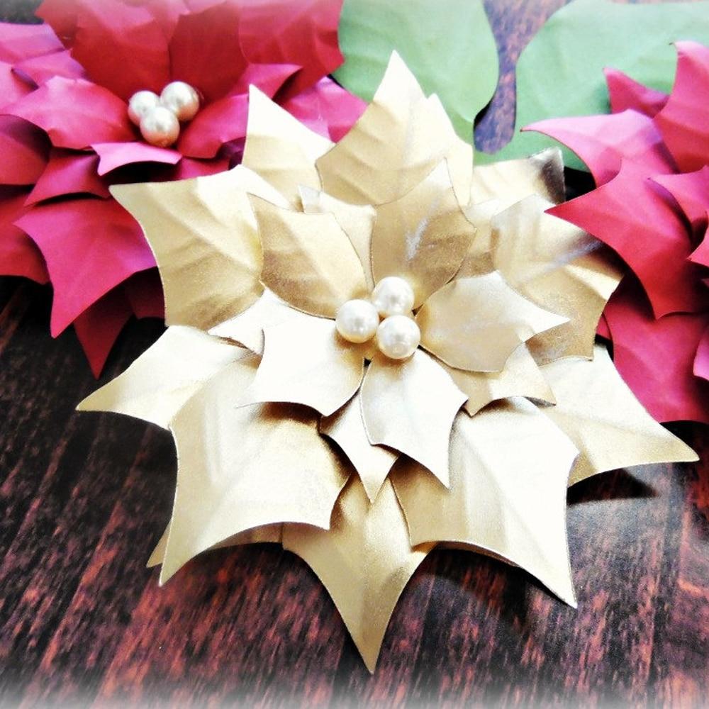 3pcs 30cm Paper Poinsettia Flowers, Giant Paper Flowers For ...