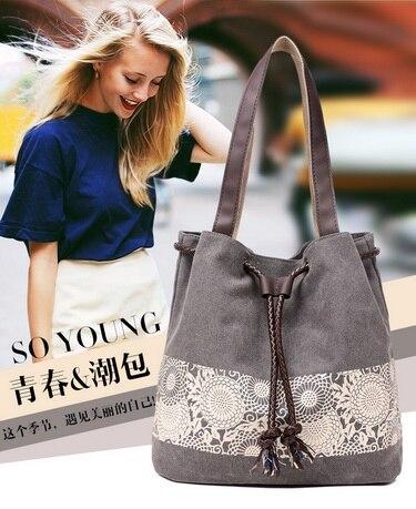 10Pcs Bucket Bag Floral Handbag Tote Beach Handbags Canvas Shoulder Bag Ladies Tote Bags Handbags