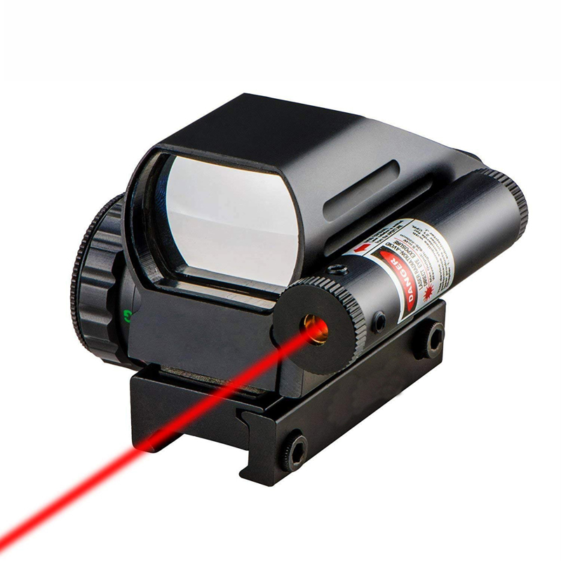 AR 15 M4 tactical airsoft 4 reticle 1x22 green red dot scope reflex sight with red laser sight fits 20mm rail for hunting rifle image