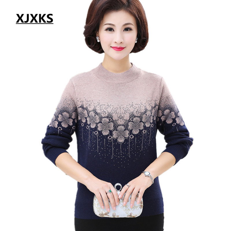955ca55dc2cb40 XJXKS 2017 Women s autumn and winter new thicken warm cashmere sweater and  pullover loose plus size temperament women s tops