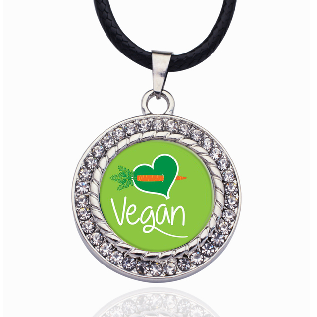 Vegan Heart Shaped Pendant with Crystal Necklace 12 Pcs Set