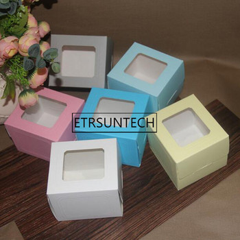 100pcs Candy Color Puff Cake Box With Clear Window West European Pastry Baking Box Packing Box