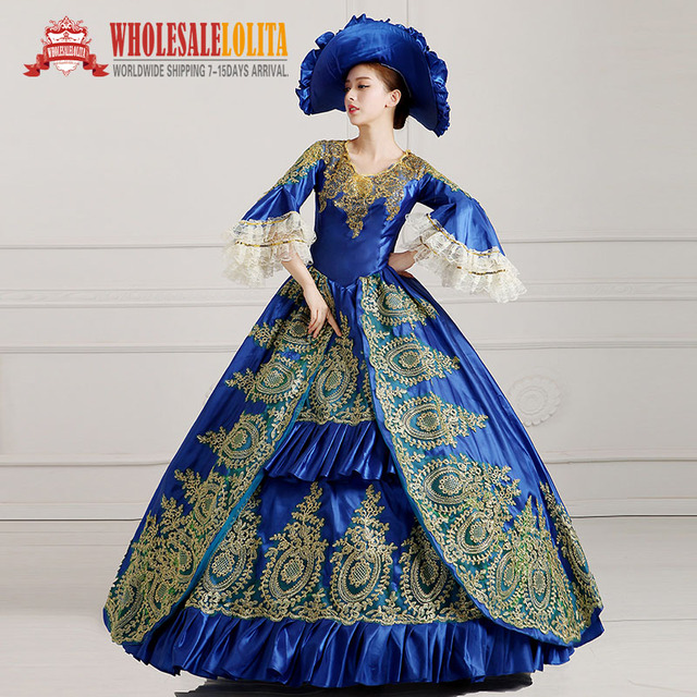 703c7866db799 US $108.0 |HOT!! Global FreeShipping 18th Century Marie Antoinette  Victorian Period Renaissance Rococo Belle Dark Blue Dress-in Dresses from  Women's ...
