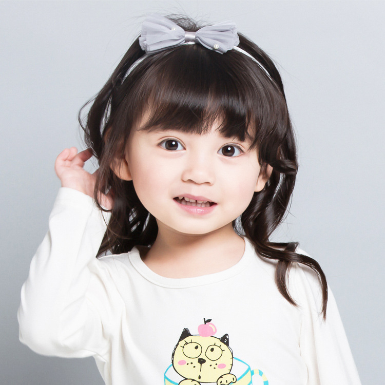 New Korea Sweet Flower Pearl Headband For Girls  Baby Silk Yarn Crystal Bow Hair Bands Colorful Ties Accessories-C