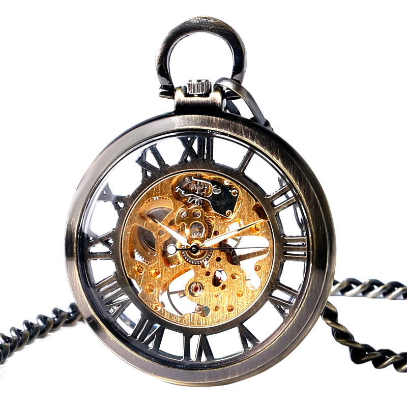 Gift Antique Style Open Face Hollow Roman Numbers Bronze Pocket Watch Fob Vintage Pendant Unisex Mechanical