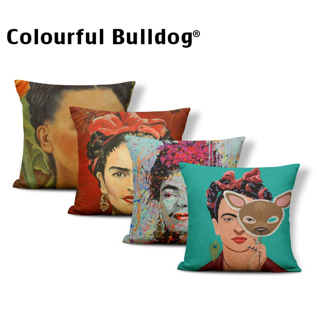 Character Frida Kahlo Cushion Painter Cover Pillow Chinese Traditional Living Room Decorations Throw Pillow Covers Square Cotton