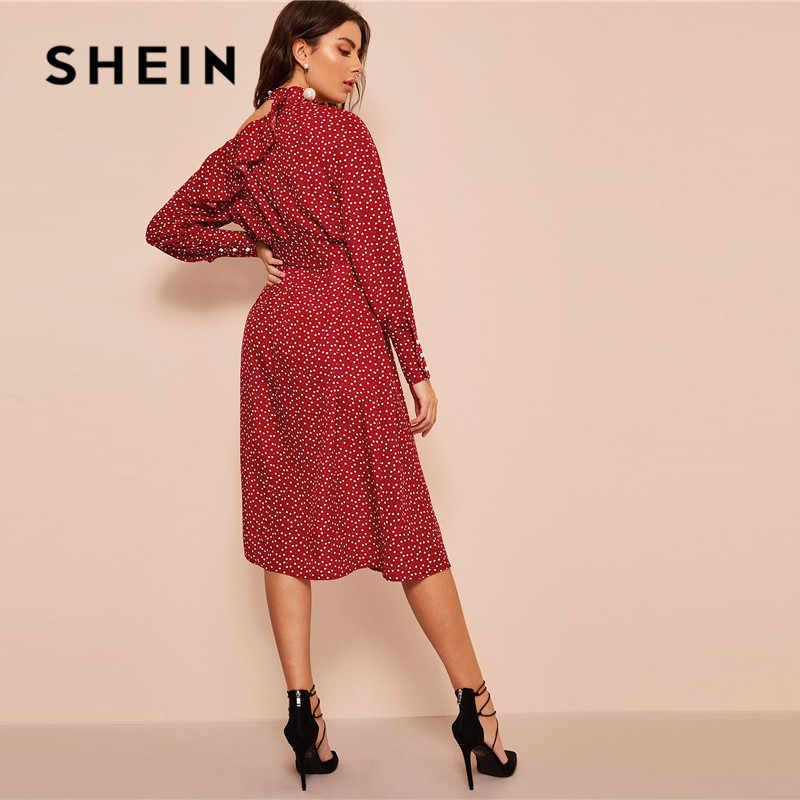 SHEIN, в горошек, с принтом, с оборками, с вырезами, с вырезом, сексуальное платье, женская одежда 2019, весенний гламурный Подпоясанный с длинным рукавом, миди платье