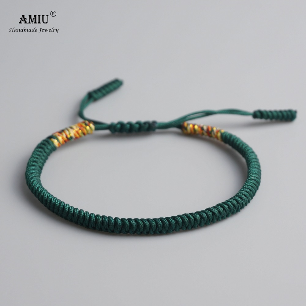AMIU Tibetan Buddhist Lucky Charm Tibetan Bracelets & Bangles For Women Men Handmade Knots Green Rope Christmas Gift Bracelet