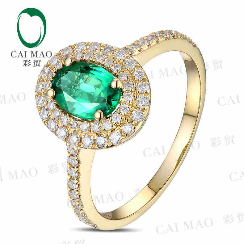 CaiMao 0.78 карат Натуральный Изумруд 18KT/750 Желтого Золота 0.38 карат Полный Cut Бриллиантовое Обручальное Кольцо Ювелирных Камней