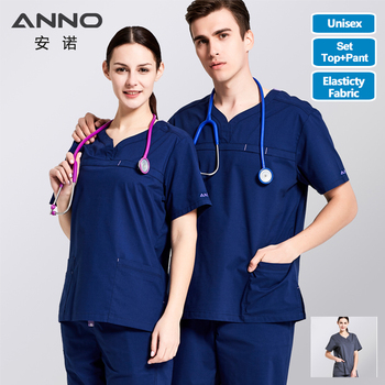 ANNO Nursing Uniforms Stretch Fabrics Clinics Suit For Women and Man Medical Surgical Scrubs Hospital Wear Medical Clothes Gowns