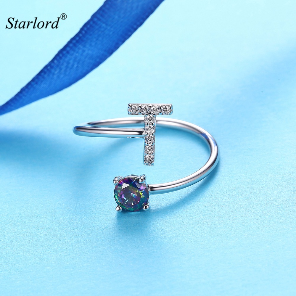 Initial T Letter Ring 925 Sterling Silver Cubic Zirconia Crystal Ring Adjustable Silver Ring Open Ring For Women R6066B