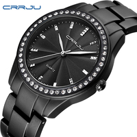CRRJU Famous Brand Simple Style Female Watches Elegant Classic Black Stainless Steel Watches Diamond Quartz Wrist