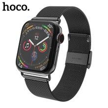 HOCO boucle milanaise pour montre Apple 5 4 3 2 1 bande 44mm 40mm 38mm iWatch série 5 4 Bracelet en acier inoxydable ceinture femmes hommes Bracelet