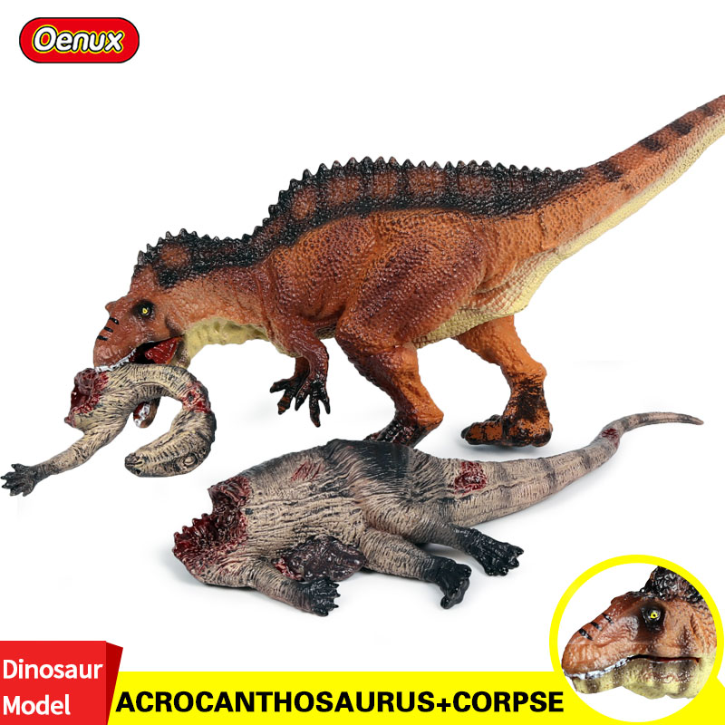 Oenux Savage Jurassic Acrocanthosaurus Dinosaur Animals Action Figures T-Rex Corpse PVC Model Brinquedo Collection Toy For Kids