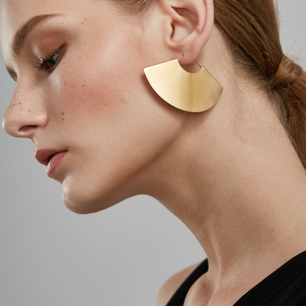 Enfashion Vintage Camber Fan Dangle Earrings Matte Gold Color Earings Big Drop Earrings For Women Long