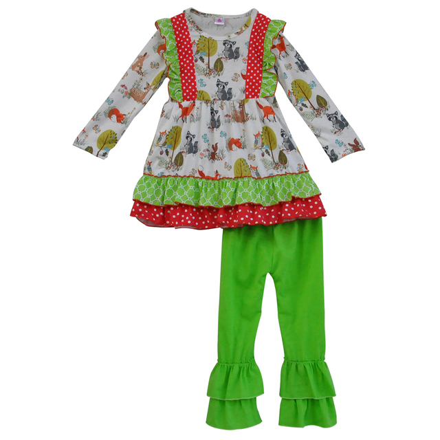 Cute Fox Print Red Green Top and Pant Kids Outfits Newborn Baby Boutique Ruffle Sets Toddler Girls Christmas Clothing Sets C005